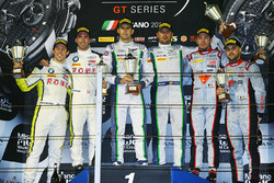 Podium: race winners Andy Soucek, Maxime Soulet, second place Philipp Eng, Alexander Sims, third place Frederic Vervisch, Laurens Vanthoor
