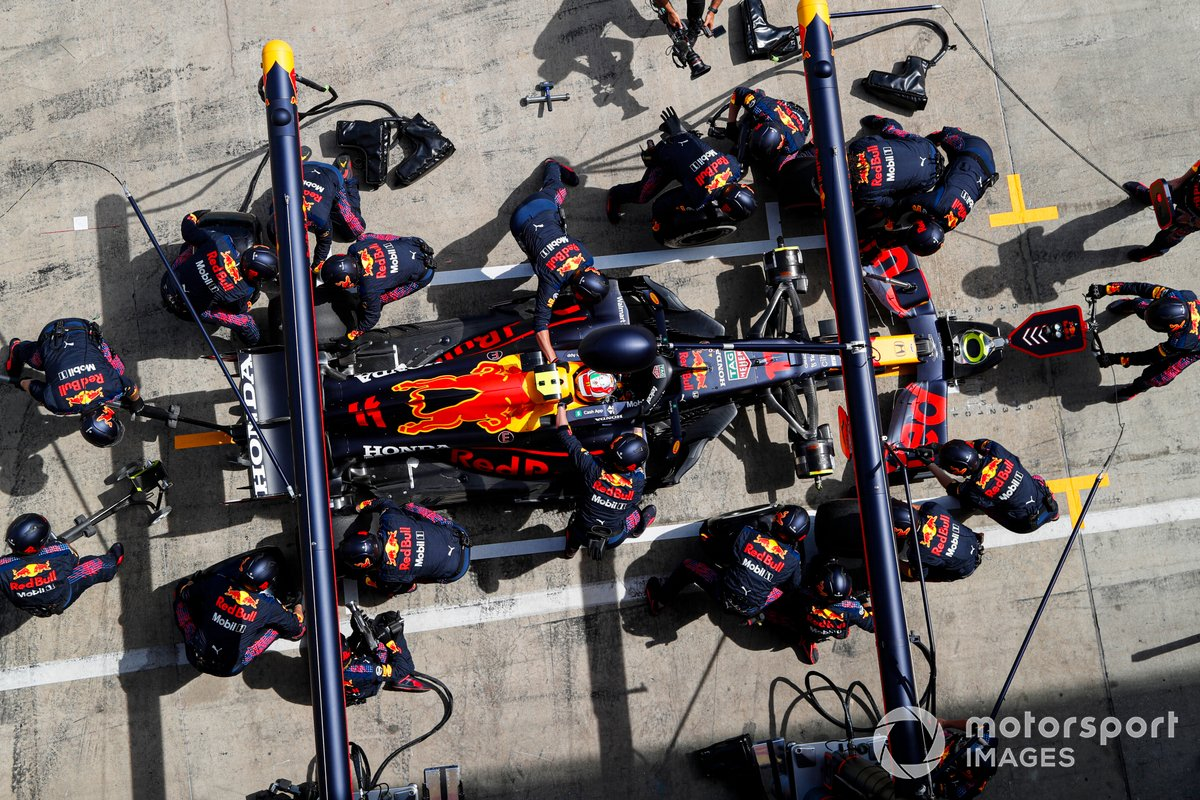 Sergio Perez, Red Bull Racing RB16B , in the pits