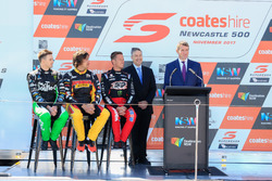 Mark Winterbottom, Chaz Mostert and James Courtney with NSW Premier Mike Baird and Supercars Australia Chief Executive James Warburton