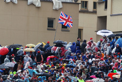 Fans in the grandstand and a flag for Lewis Hamilton, Mercedes AMG F1