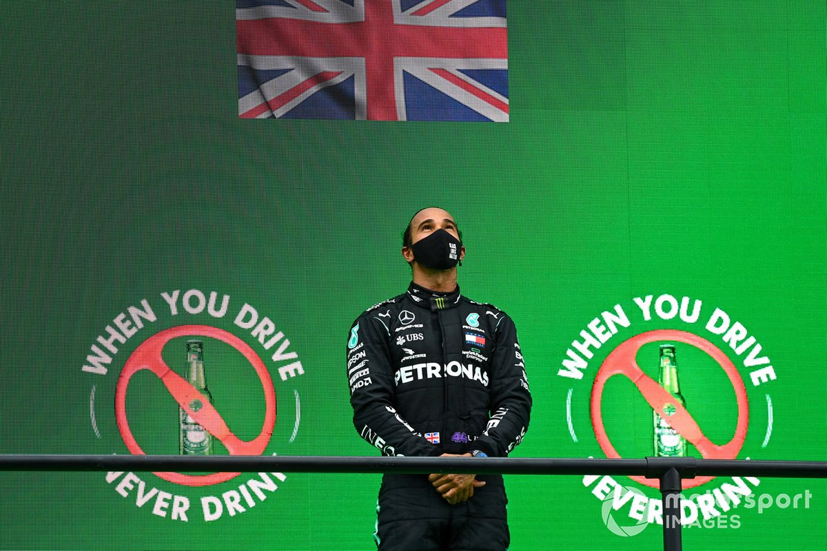Lewis Hamilton, Mercedes-AMG F1, 1st position, on the podium