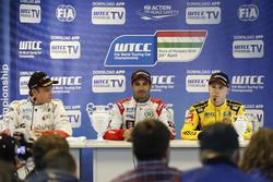 Press conference: second place Tom Chilton, Sébastien Loeb Racing, Citroën C-Elysée WTCC; Winner Mehdi Bennani, Sébastien Loeb Racing, Citroën C-Elysée WTCC; third place Nicky Catsburg, LADA Sport Rosneft, Lada Vesta