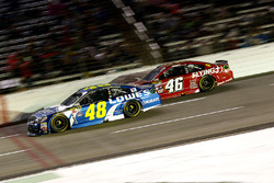 Jimmie Johnson, Hendrick Motorsports Chevrolet and Michael Annett, HScott Motorsports Chevrolet