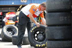 Tires getting prepared for Kyle Larson, Chip Ganassi Racing Chevrolet