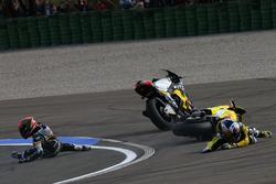 Mika Kallio, Marc VDS Racing Team and  Maverick Viñales, Pons HP 40 crash