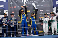 British GT Photos - GT4 podium from left: second place Jack Bartholomew, Jordan Albert, winners Anna Walewska, Nathan Freke, third place Aleksander Schjerpen, James Birch