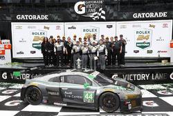 GTD winners John Potter, Andy Lally, Marco Seefried, René Rast, Magnus Racing celebrate