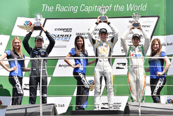Podium: winner Pato O'Ward, Team Pelfrey, second place Jake Parsons, Juncos Racing, third place Will Owen, Juncos Racing