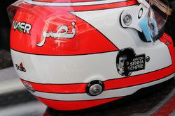 The helmet of Felipe Nasr, Sauber F1 Team with a tribute to Ayrton Senna