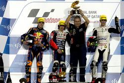 Podium: race winner Niccolò Antonelli, Ongetta-Rivacold, Honda; second place Brad Binder, Red Bull KTM Ajo, KTM, third place Francesco Bagnaia, Aspar Team Mahindra, Mahindra