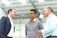 Formula 1 Photos - Stephen Fitzpatrick, Manor Racing owner, Pascal Wehrlein, Manor F1 Team and Dave Ryan, Manor F1 Team Racing Director