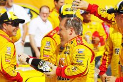 Joey Logano's crew chief Todd Gordon, Team Penske Ford celebrates in Victory Lane