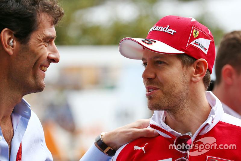 Mark Webber, Porsche Team WEC Driver and Sebastian Vettel, Ferrari