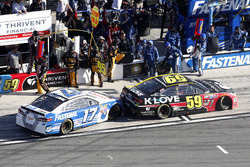 Michael McDowell, Circle Sport Leavine Family Racing Chevrolet is blocked the pit stall of Ricky Stenhouse Jr., Roush Fenway Racing Ford