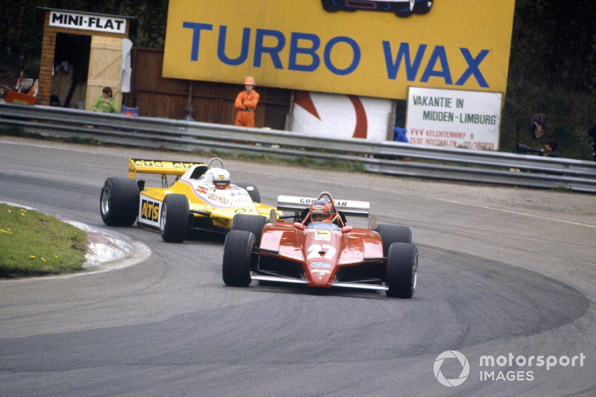 Gilles Villeneuve, Ferrari 126C2, por delante de Manfred Winkelhock, ATS D5-Ford