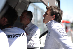 Toto Wolff, Mercedes AMG F1 Shareholder and Executive Director on the pit gantry