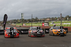 Race winners Garth Tander and Warren Luff, Holden Racing Team, second place Shane van Gisberge and Alexander Premat, Triple Eight Race Engineering Holden, third place Will Davison and Jonathon Webb, Tekno Autosports Holden