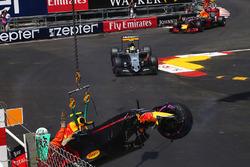 Red Bull Racing RB12 of Max Verstappen crash
