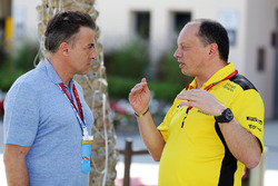 Jean Alesi and Frederic Vasseur, Renault Sport F1 Team Racing Director