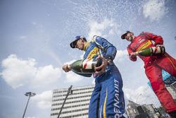 Race winner Sébastien Buemi, Renault e.Dams and second place Daniel Abt spray champagne on the podium