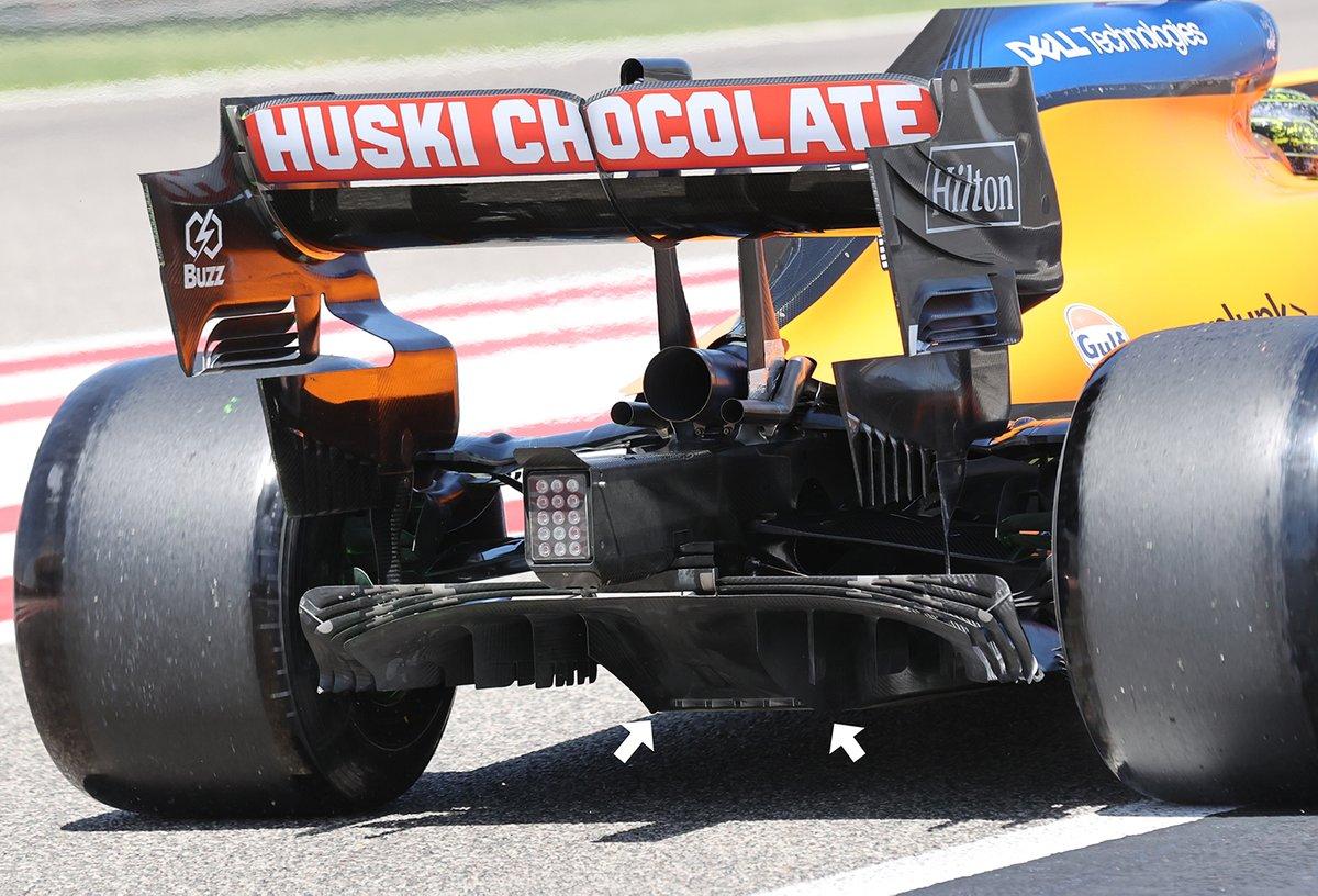Detalle del difusor trasero del McLaren MCL35M