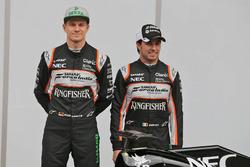 Sergio Perez, Sahara Force India F1, Alfonso Celis Jr., Sahara Force India F1 and Nico Hulkenberg, Sahara Force India F1