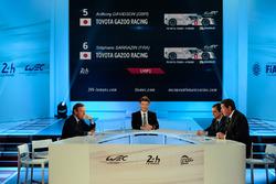 President of the FIA Endurance Commission Lindsay Owen-Jones, presenter Bruno Vandestick, ACO president Pierre Fillon, WEC CEO Gérard Neveu