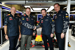 Adrian Newey, the Chief Technical Officer of Red Bull Racing, Andy Palmer, Chief Executive Officer of Aston Martin, Red Bull Racing Team Principal Christian Horner and Marek Reichman, Chief Creative Officer and Design Director of Aston Martin