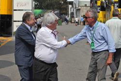 (L to R): Jean Todt, FIA President with Bernie Ecclestone, and Cesare Fiorio,