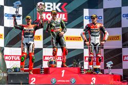 Sunday race podium: 1st place Tom Sykes, Kawasaki Racing Team, 2nd place Davide Giugliano, Aruba.it Racing - Ducati, 3rd place Chaz Davies, Aruba.it Racing - Ducati