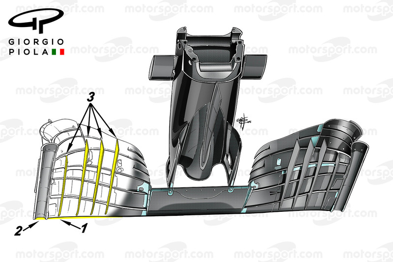 McLaren MP4/31 front wing fins, captioned, Mexican GP