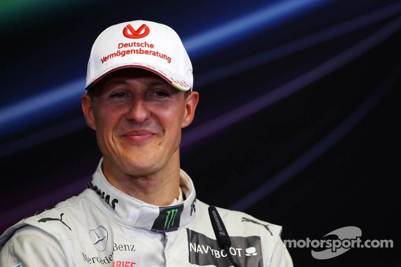 Schumacher races his Mercedes onto the podium in the European GP