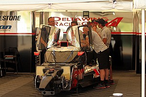 The DeltaWing coupe prepares for Virginia International Raceway