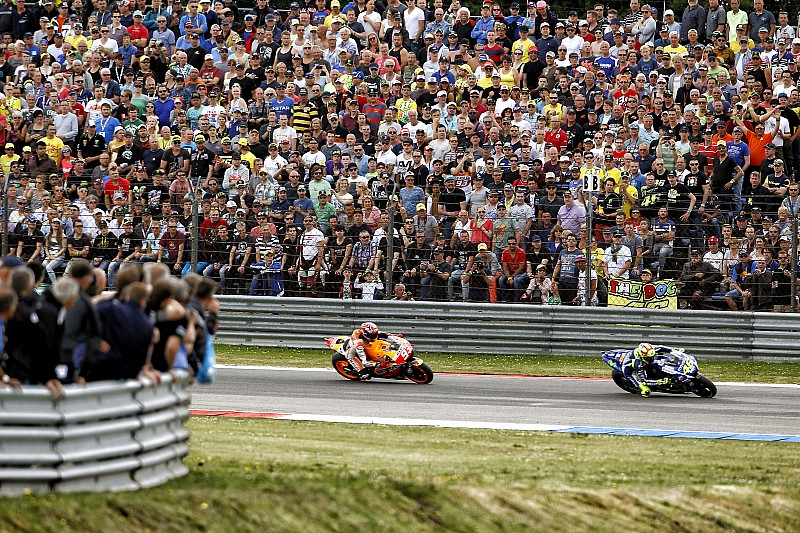 Marquez takes second after spectacular battle with Rossi in final chicane with Pedrosa 8th