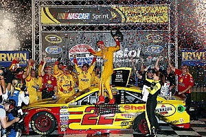 NASCAR Sprint Cup Race report Logano holds off hard-charging Harvick at Bristol