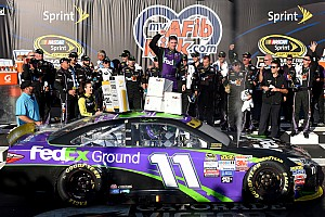 NASCAR Sprint Cup Race report Denny Hamlin spins and then wins at Chicagoland