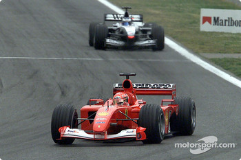 The battle between Michael Schumacher and Mika Hakkinen