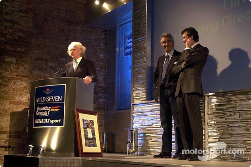 Luciano Benetton, Flavio Briatore and Alessandro Benetton present the new B201
