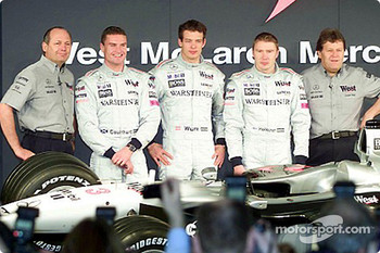 McLaren Team principal Ron Dennis, David Coulthard, Alexander Wurz, Mika Hakkinen, and head of Mercedes-Benz Motorsport Norbert Haug