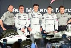 McLaren Team principal Ron Dennis, David Coulthard, Alexander Wurz, Mika Hakkinen, and head of Mercedes-Benz Motorsport Norbert Haug