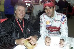 Racing legend Mario Andretti  with Audi driver Emanuele Pirro
