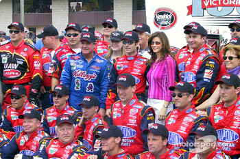 Jeff Gordon and Terry Labonte celebrating Hendrick Motorsports' 100th Winston Cup victory