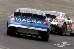Brett Bodine leading Mark Martin into one of the many turns that make up the Sears Point race track