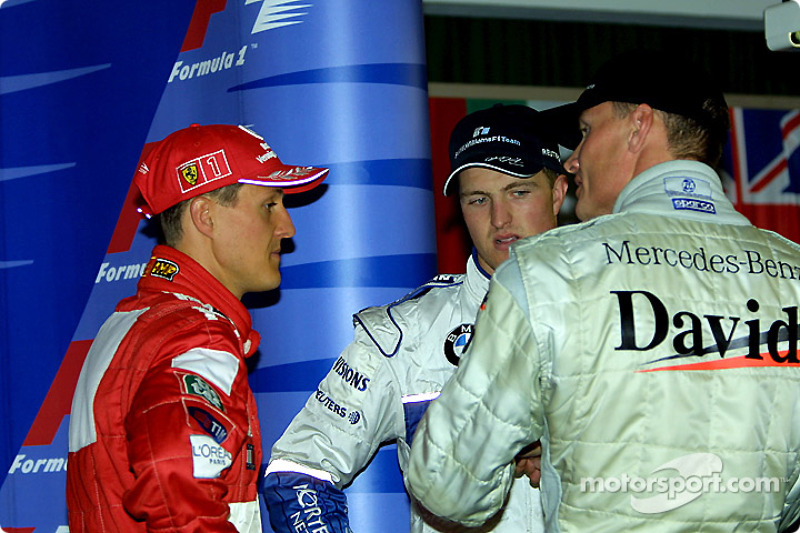 After the press conference: Michael Schumacher, Ralf Schumacher and David Coulthard