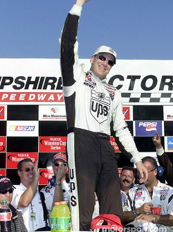 A jubilant Dale Jarrett wins the New England 300