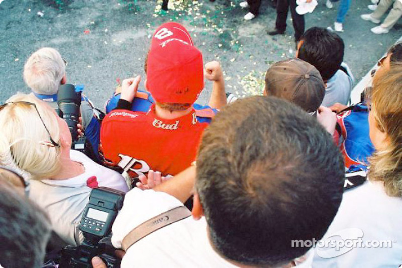 Dale Earnhardt Jr. celebrating