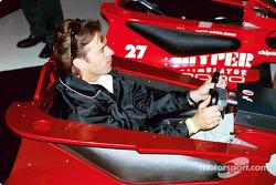 Jimmy Vasser driving racing simulator