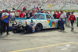 Working on Bobby Hamilton's car