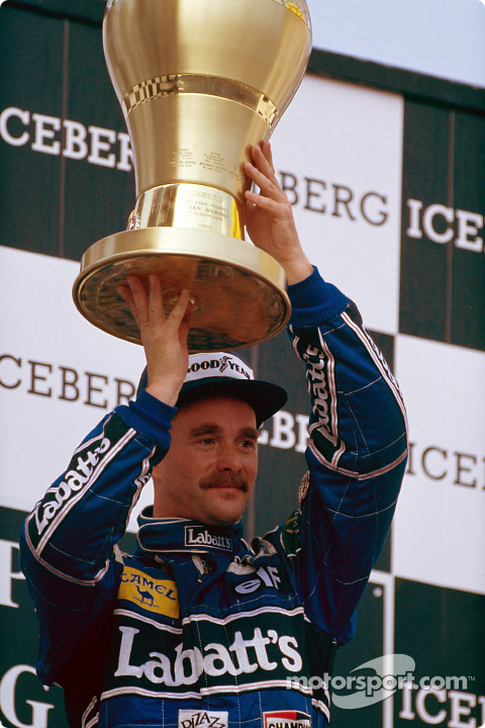 Race winner Nigel Mansell