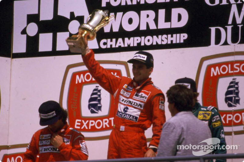 The podium: race winner Ayrton Senna and Alain Prost